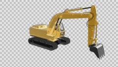 Loop rotate excavator with alpha Stock Footage
