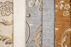 Close Up Detail of Multi Color Fabric Texture Samples - stock photo