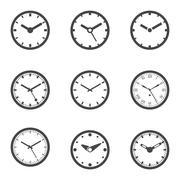 Clock Icon Set - Isolated Vector Illustration Stock Illustration