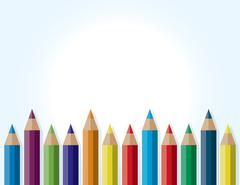 Colorful Border Background of Colored Pencils - stock illustration