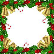 Holly Christmas frame - stock illustration