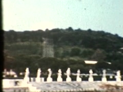 Roman Statues around stadium (Vintage 1950's) Stock Footage