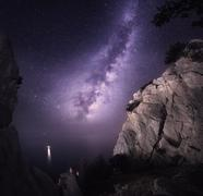 Milky Way. Beautiful night landscape with rocks and starry sky - stock photo