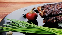 Main course: barbecued ribs Stock Footage