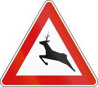 Slovenia road sign - Wild animals - stock illustration