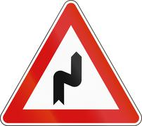 Slovenia road sign - Double bend, first to right - stock illustration