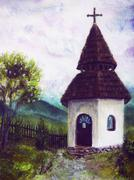 Chapel in nature, color oil painting. Beauty  mountains in the background - stock illustration