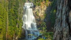 High Waterfall Reveal BC Canada Time Lapse Alexander Falls 4K 1080P Stock Footage
