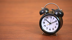 Black twin bell clock alarm Stock Footage