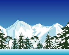 High snow mountains - stock illustration