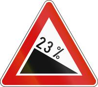 Slovenia road sign - Steep hill downward - stock illustration