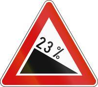 Stock Illustration of Slovenia road sign - Steep hill downward