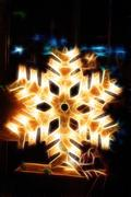 Shiny electric christmas snow flake symbol, on dark nocturnal background - stock photo