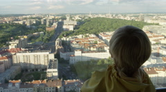 Boy View Prague Zizkov Tower - 4k Stock Footage