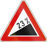 Slovenia road sign - Steep hill upward Stock Illustration