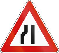 Slovenia road sign - Road narrows on the left side Stock Illustration