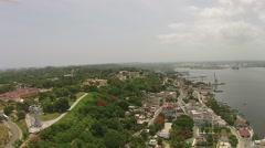 Aerial Christ Statue Havana Port Cuba Stock Footage