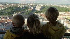 Mother Sons View Prague Zizkov Tower - 4k Stock Footage