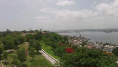 Aerial desencds Christ of Havana Statue Havana Port Cuba Stock Footage