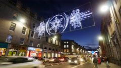 Time Lapse Footage of Traffic on Union Street in Aberdeen, Scotland. Stock Footage