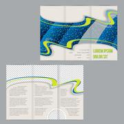 Tri-fold flyer brochure template with waterdrop image - stock illustration
