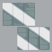 Tri-fold flyer brochure template with slate blue stripes - stock illustration