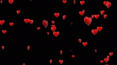 3D Hearts Falling Stock Footage