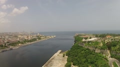 Aerial Havana Port entrance Stock Footage