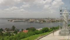 Aerial drone pan from La Cabaña hill to Canal de Entrada of Havana Port Cuba Stock Footage