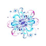 Fractal flower snow storm Stock Illustration