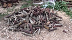Stock of firewoods in the yard Stock Footage