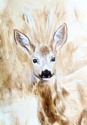 deer head sepia painting sketch - stock illustration