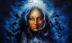 Mystic face women, with structure crackle background effect, with star on Piirros