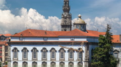Episcopal Palace and Clerigos Church bell tower timelapse in Porto, Portugal Stock Footage