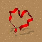 red ribbon in the shape of a heart - stock illustration