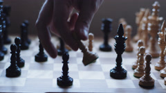Pawn takes another pawn in a chess game Stock Footage