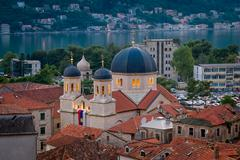 St Tryphon Catholic Cathedral of Kotor at night - stock photo