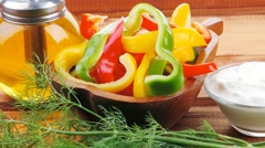 Peppers sliced for salad Stock Footage