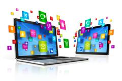 Icons flying around Digital Tablet PC and Laptop - stock illustration