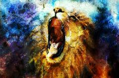 Painting of a roaring lion on a abstract desert pattern, pc collage Stock Illustration