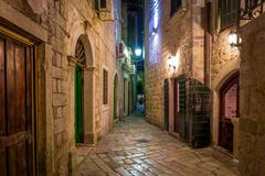 Kotor historical town narrow street Stock Photos