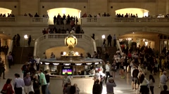 New York City 455 Grand Central Terminal view from gallery to famous clock Stock Footage