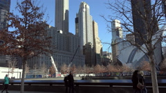 New York -  World Trade Center Memorial in Downtown New York City. Stock Footage
