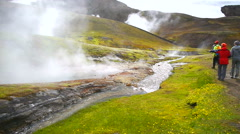 Trekking. Geothermal pool in Iceland Stock Footage