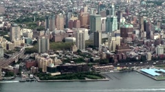 New York City 465 Brooklyn cityscape seen from top of new One World Trade Center Stock Footage