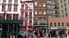 New York City 470 old house facades in downtown Chinatown district Stock Footage