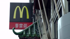 New York City 474 Chinatown; famous fast food restaurant with Chinese characters Stock Footage