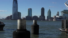 New York - Ferry Boat Arrives at Battery Park City Pier A. Stock Footage