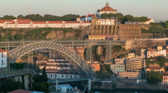 Sunset time, shadow cover Douro riverside with the Dom Luiz bridge timelapse Stock Footage