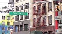 New York City 489 Centre Street Chinatown; house facades with fire escapes Stock Footage